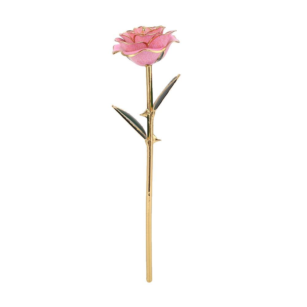 Цветочный декор, искусственный цветок, искусственная Роза, украшение, искусственная имитация, цвет, золотая фольга, 10 цветов, растительный орнамент, фестиваль - Цвет: Pink