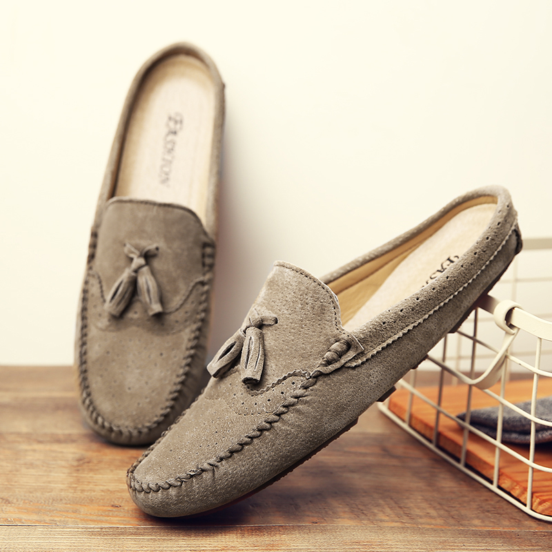 Tassel Suede Leather Loafers Summer Male Moccasins Half Shoes For Men Casual Shoes Soft Masculino Breathable Mens Slipper Flats