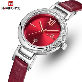 NAVIFORCE Horloge Vrouwen Luxe Merk Dames Jurk Quartz Horloge Lederen Waterdicht Vrouwelijke Horloges Meisje Klok Relogio Feminino