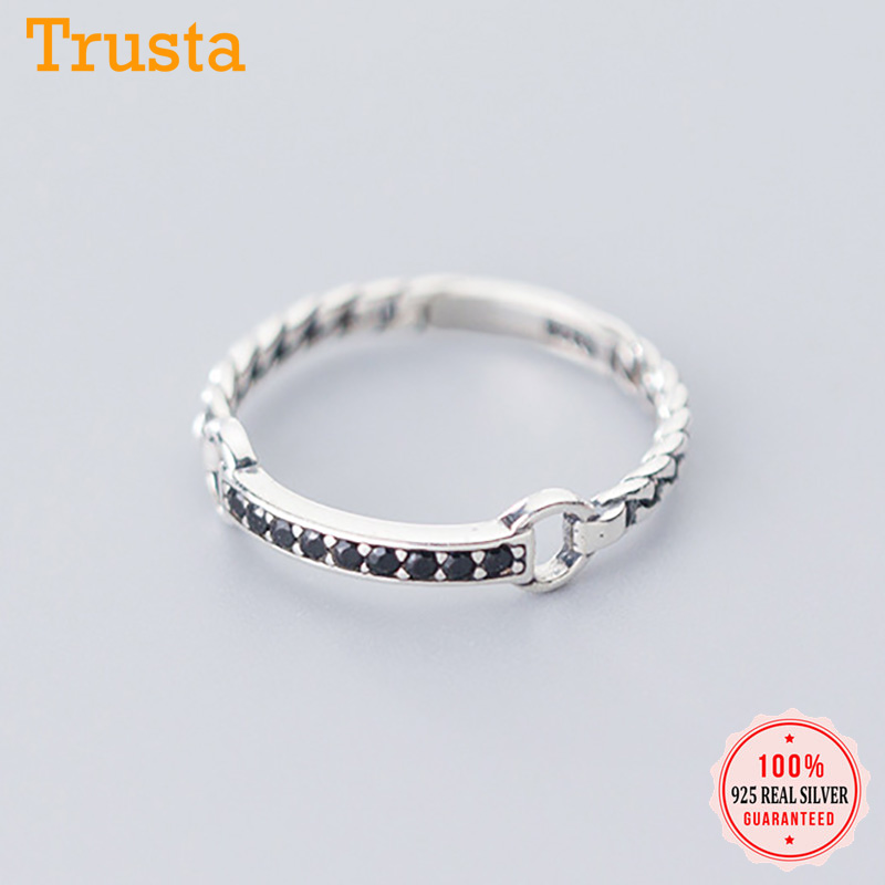 Trustdavis Authentic 925 Sterling Silver Sweet Chain Dazzling CZ Finger Ring For Women Wedding Fine S925 Ring Jewelry DA1116
