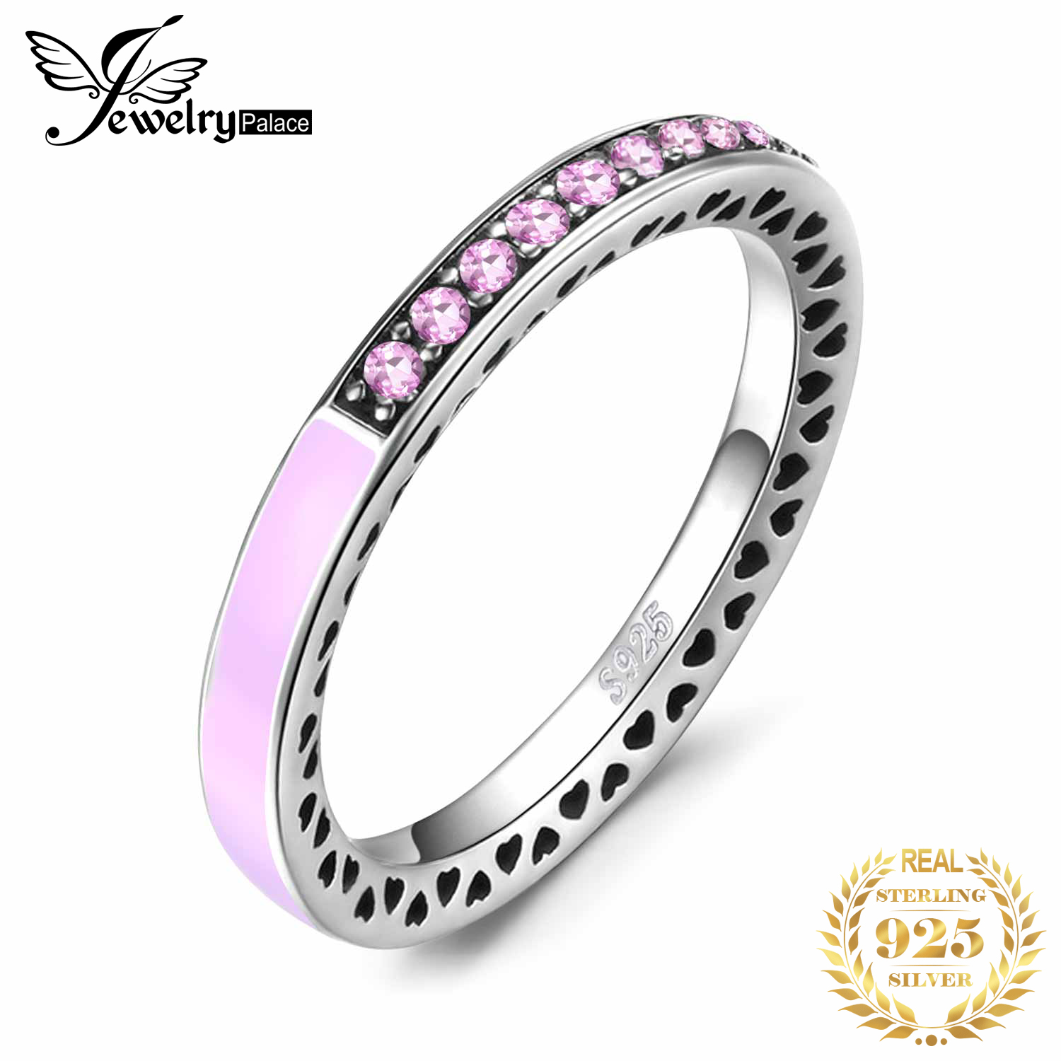 Jewelrypalace Pink Enamel Channel Set Cubic Zirconia Stackable Wedding Ring 925 Sterling Silver For Women Steel Jewelry