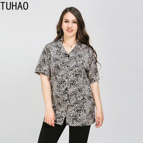 Camisa de Manga Tuhao Primavera Verão Leopardo Blusa Vintage Impressão Blusas Tamanho Grande 8xl 7xl 6xl 5xl Casual Longa Feminina Topo Wm63 2020