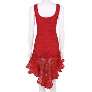 Image 3 - TiaoBug النساء اللاتينية فستان رقص سكوب الرقبة كشكش الدانتيل أعلى أدنى قاعة سامبا تانجو الصلصا Dancewear أداء مرحلة زي