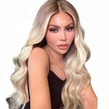BYMC Омбре блонд человеческие волосы полностью кружевные парики 180 плотность 4T613 объемная волна бразильский Remy бесклеевой парик предварительно выщипанный с детскими волосами