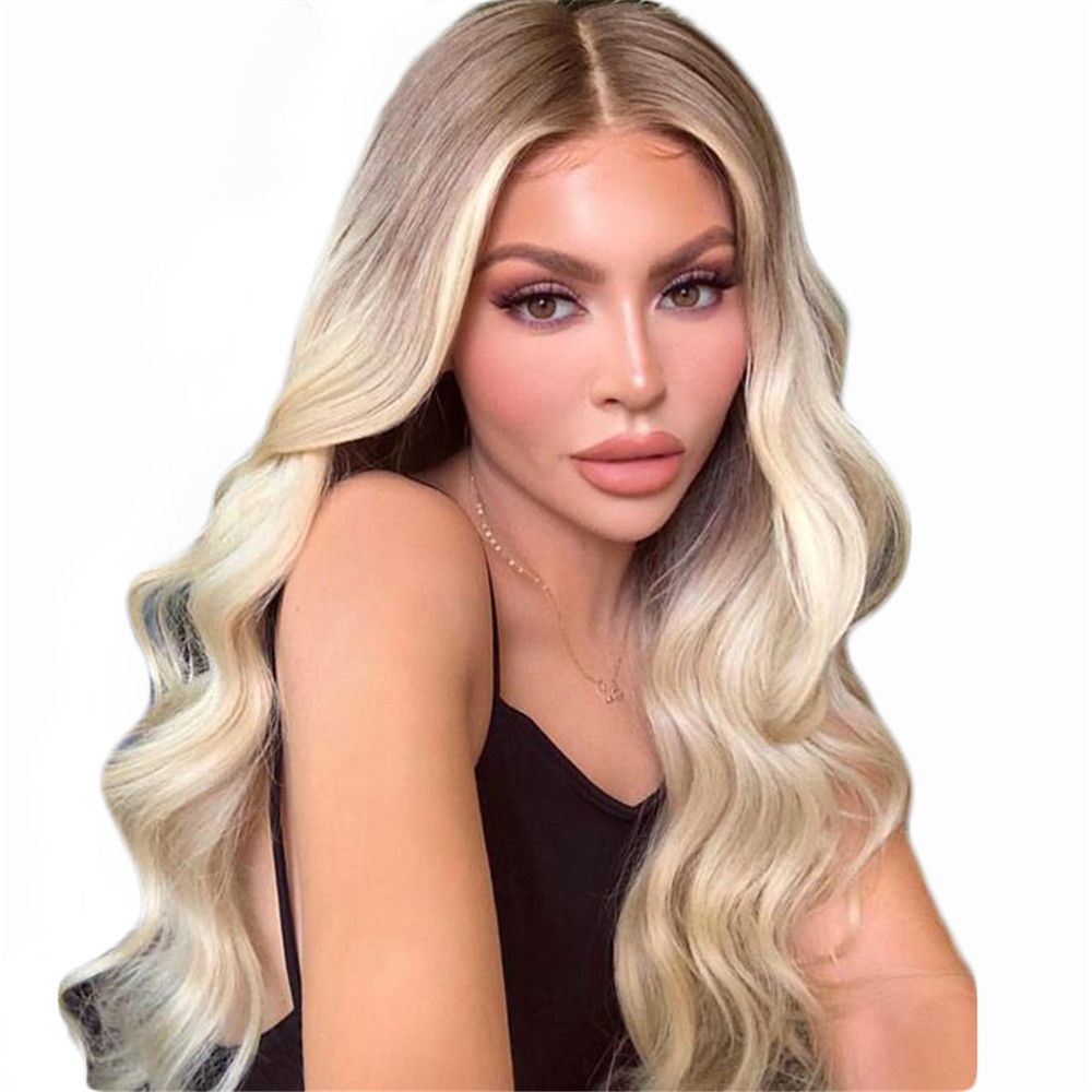 BYMC Ombre Blonde Human Hair Full Lace Wigs 180 Density 4T613 Body Wave Brazilian Remy Glueless Wig Preplucked With Baby Hair