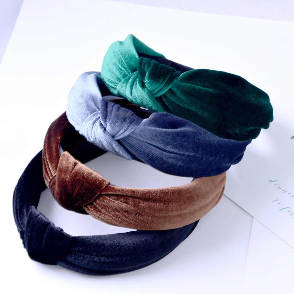 Qu/_ KF/_ Women Solid Velvet Knot Cross Hair Hoop Wide Headband Party Hair Band Ne