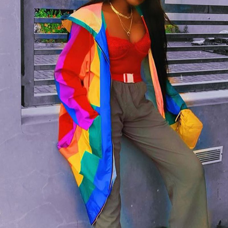 Striped Rainbow Hoodies Casual Long   Trench   Coat Fashion Streetwear Womens Windbreakers African Plus Size Maxi Trenchcoat Autumn