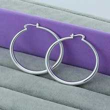 Wholesale Big Hoop Earrings For Women 925 Silver Color Simple Circular Elegant Fashion Jewelry 5cm Earrings For party gift