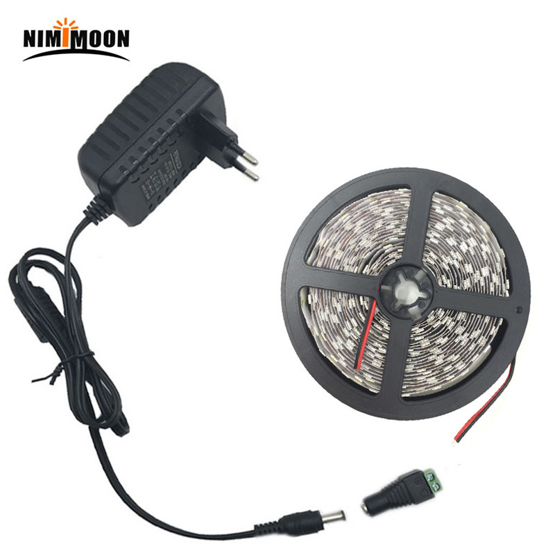 5M 5050 White Warm Whute RGB LED Strip Light Waterproof No Waterproof 10M 15M Led Ribbon Tape Remote DC12V Power Adapter