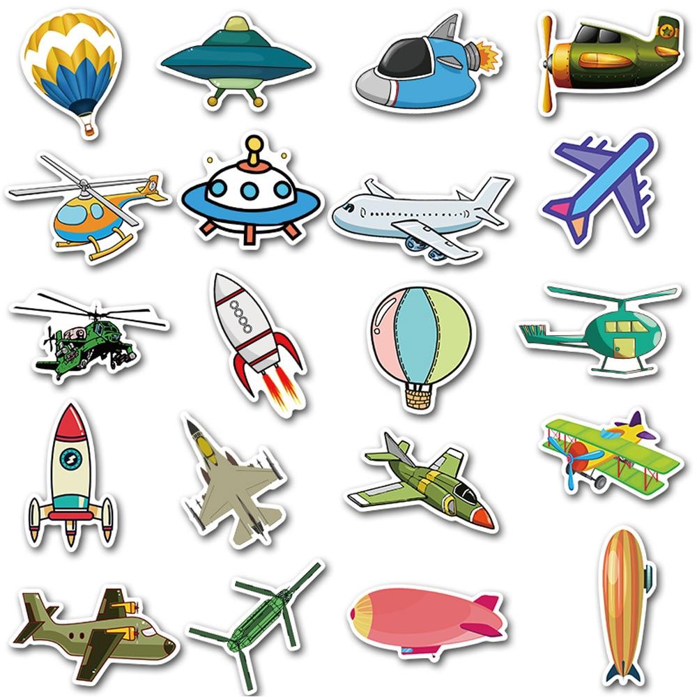 40PCS Transportation Cartoon Sticker Toys for Boys Rocket Aircraft Anime Sticker for DIY Kids Toys Room Learning Traffic Tool