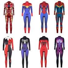 3d adulto cosplay bodysuit filme em quadrinhos traje spidermen ferro impressão feminina magro manga longa macacão magro calças casuais