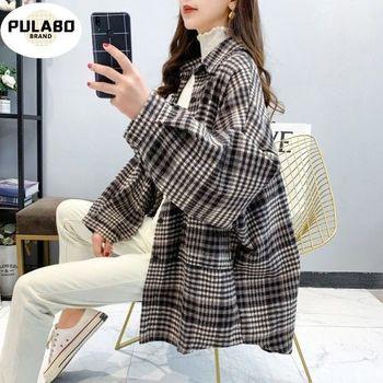 Basic Jackets Women Retro Plaid Spring Trendy Loose Elegant Long Sleeve Femme Coats Chic Leisure Oversize New Outerwewar
