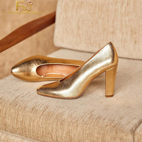 Gold High Chunky Heels Women Pumps Round Toe Slip On Large Size 13 15 Ladies Summer Fashion Party Concise Mature Sexy Shoes FSJ