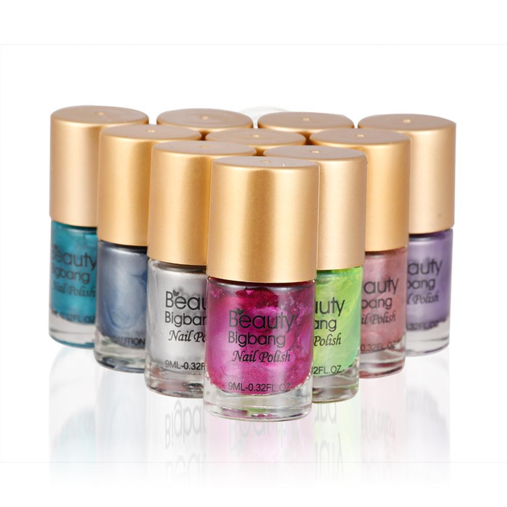 Лак для ногтей Beautybigbang 9 мл, зеркальный эффект, металлический лак для нейл-арта, аксессуары, Набор серых и красных лаков для ногтей