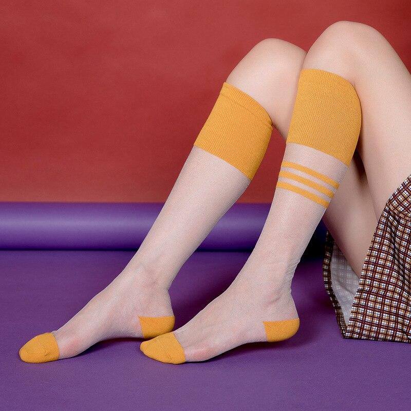 1 пара, женские летние дышащие тонкие гольфы, прозрачные полосатые шелковые носки до середины икры, женские сетчатые носки Носки      АлиЭкспресс