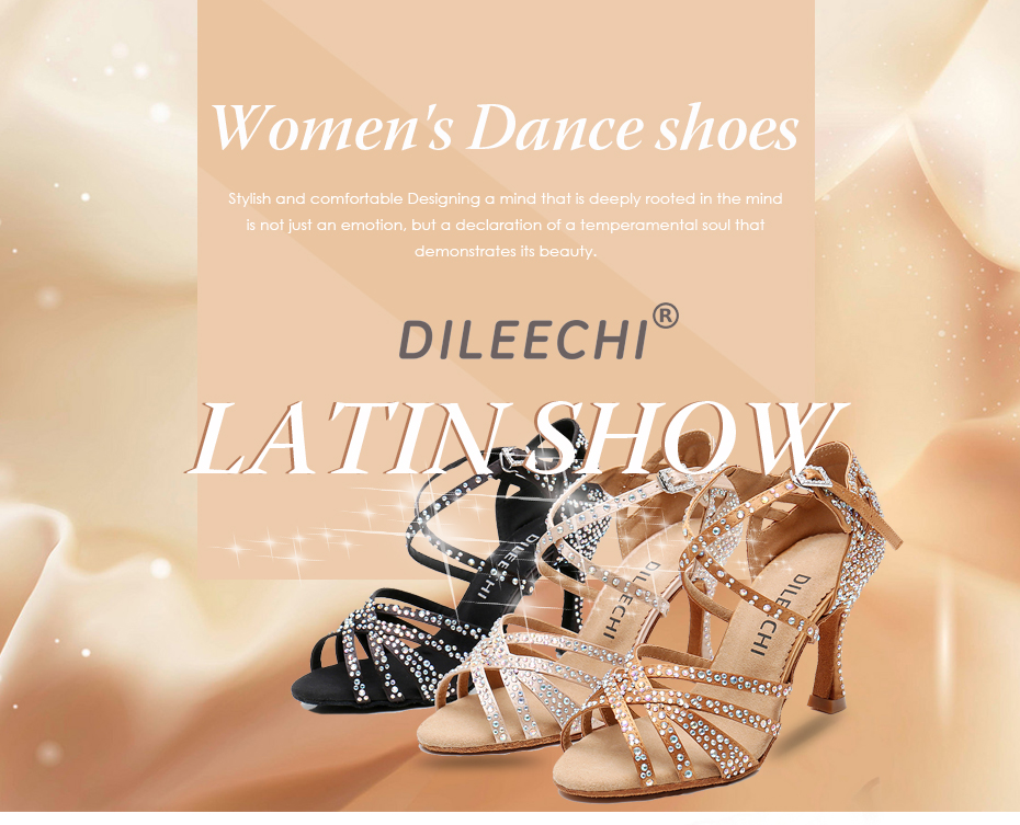 DILEECHI Women Party Dance Shoes Satin Shining rhinestones Latin Dance Shoes Salsa Dance Shoes Square dance shoes cuban heel 9cm