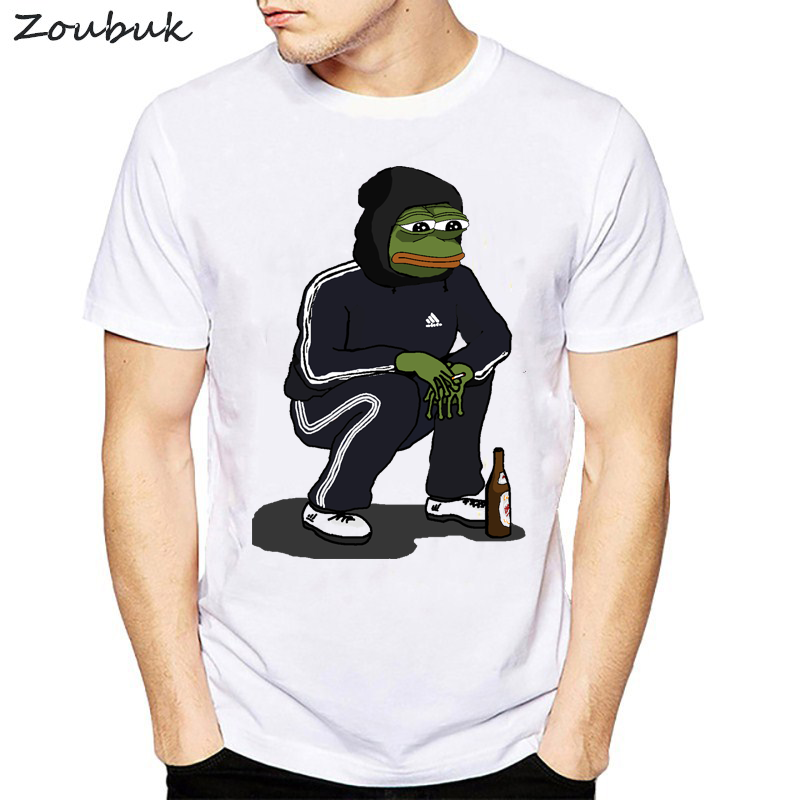 Dank Memes And Chill T Shirt Men  Frog T-shirt For Man White Summer 2020 Plus Size Tshirt Top