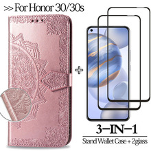 3-in-1,Flip Case For Huawei honor30 Case For Honor 30s Cover glass Magnetic Luxury Stand Wallet casehonor 30 sCover honor 30