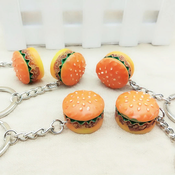 Cute Burger Food Keychains Pendant Creative Car Key Holder Ornament Bag Phone Key Ring Key Chain Cute Jewelry Gift For Women image