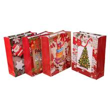 4pcs Christmas Gift Portable Paper Bags Containers For Party Bakery Cafe Party Candy Storage Bag Festive Storage(China)