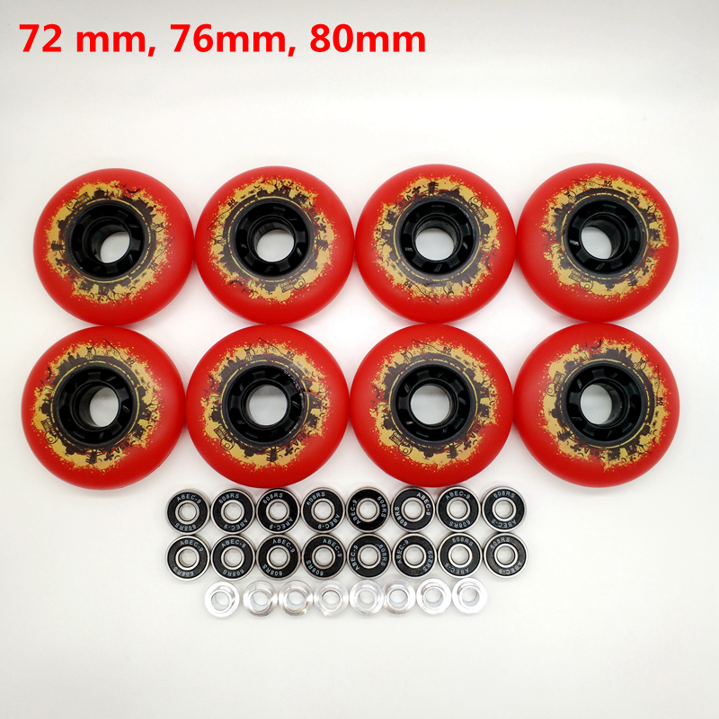 Free Shipping Roller Wheel Skate Wheel 85 A Red Wheel 72 Mm 76 Mm 80 Mm Abec-9
