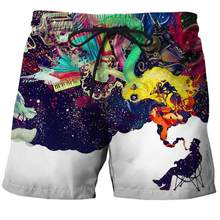 Dropshipping USA Size Mens Funny Fantasy smoke Beach Shorts Summer Digital Printing Quick Dry Swim Trunks Workout Motion Shorts(China)