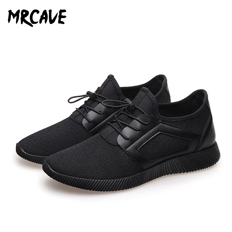 MRCAVE Men Knitting Mesh Breathable Flat Heel Shoes Sport Running Casual Sneakers Spring Summer Black Elastic Band Men's Shoes