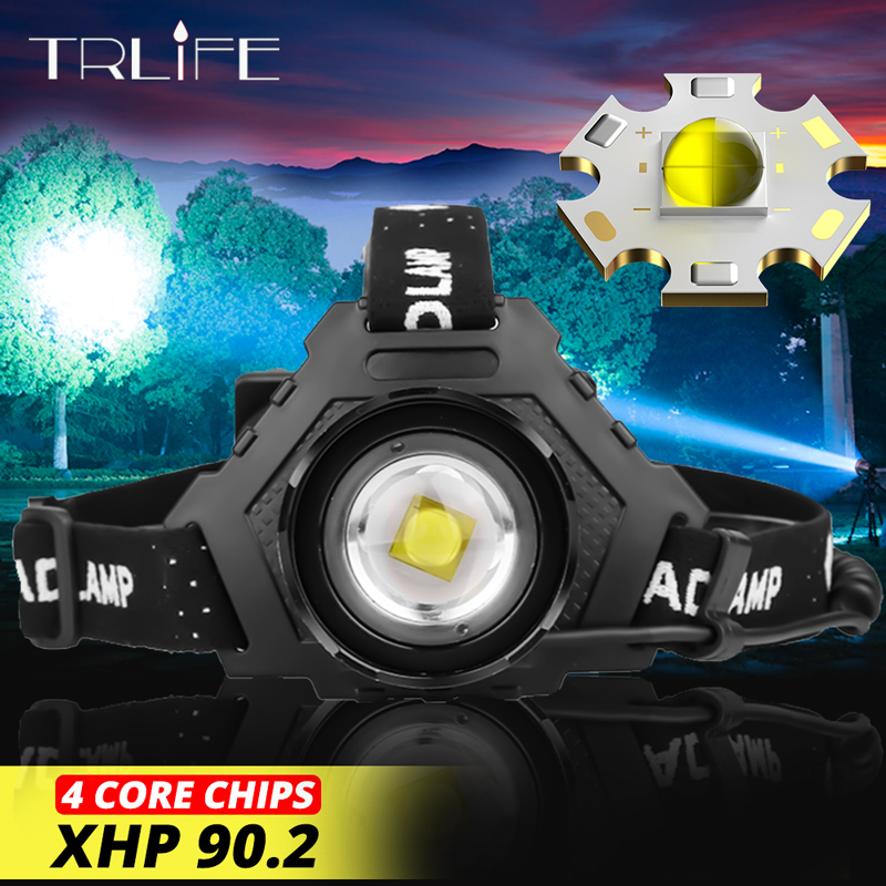 7000LM XHP90.2 LED Headlamp Most Powerful 32W 18650 Light USB Head Lamp Zoom Power Bank 7800mAh Hiking Fishing Light XHP70 Zoom