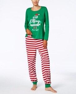 Image 2 - Family Christmas Pajamas Set Family Matching Clothes Adult Kids Pajamas set Baby Romper Xmas STOP Elfing Family Sleepwear