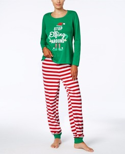 Image 2 - 가족 크리스마스 잠옷 세트 가족 일치하는 옷 성인 어린이 잠옷 세트 아기 romper 크리스마스 중지 elfing 가족 잠옷