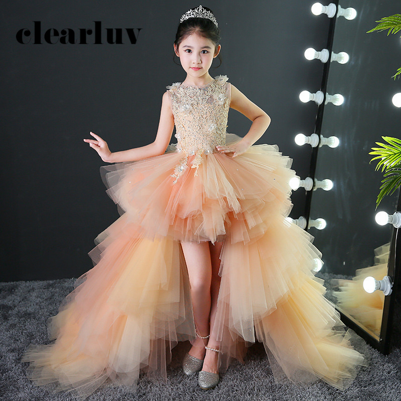 Girl Princess Dress Champagne Applique Detachable Train Flower Girl Dresses For Wedding B006 Hollow Kid Party Communion Dress