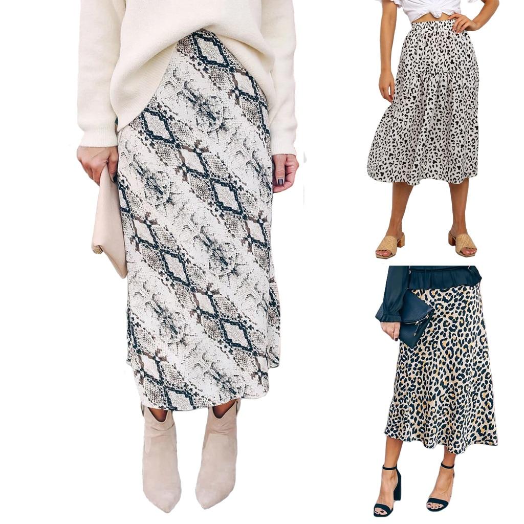 Women's High Waist Leopard Snake Pattern Printed Casual Midi Skirt faldas mujer moda юбки женские кожаная юбка юбка кожаная
