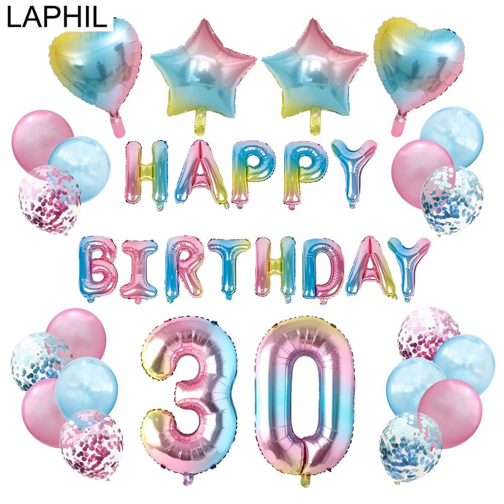 LAPHIL 1 2 10 13 16 18 20 21 30 40 50 60 70 80 <font><b>90</b></font> <font><b>Years</b></font> <font><b>Birthday</b></font> Number Foil Balloons Set <font><b>Birthday</b></font> Party Decorations Kids Adult image