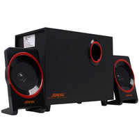 High Quality Black USB 5V Plastic Wooden Desktop Subwoofer Loudspeakers Combination Sound Box Video Music Player Speaker