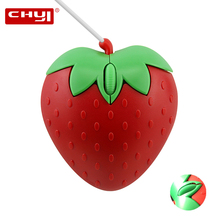 Laptop Mice Computer-Mouse Wired CHYI Optical-Pc Mause 3d Strawberry-Design Girls Mini