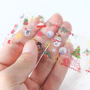 Image 5 - 10pcs חג המולד קישוטי ציפורניים לערבב צבעוני העברת נייל לסכל מדבקת שלג פרח איילים מתנה סנטה דבק נייר CH1036 1