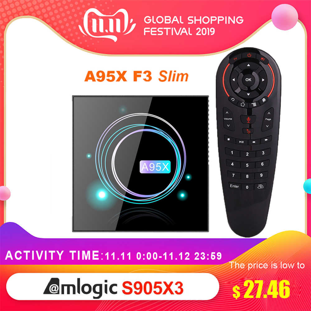Serwer multimedialny Plex A95X F3 Slim smart tv box Android 9.0 Amlogic S905X3 4G 32G/64G Google Play tv, pudełko 8K HDR Dual WIFI BT4.1