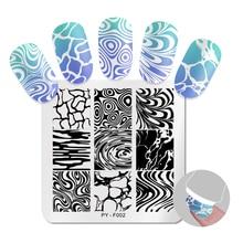 PICT YOU Square stemplowanie płytki wzór woda seria obraz paznokci szablony stempli ze stali nierdzewnej Nail artystyczny design Tools F002