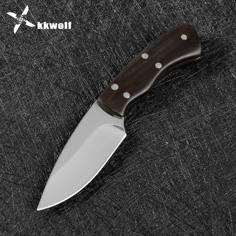 KKWOLF الفولاذ المقاوم للصدأ مصغرة شفرة مثبتة سكينة تكتيكية Karambit سكين الصيد بقاء التخييم أدوات في الهواء الطلق K غمد EDC أدوات