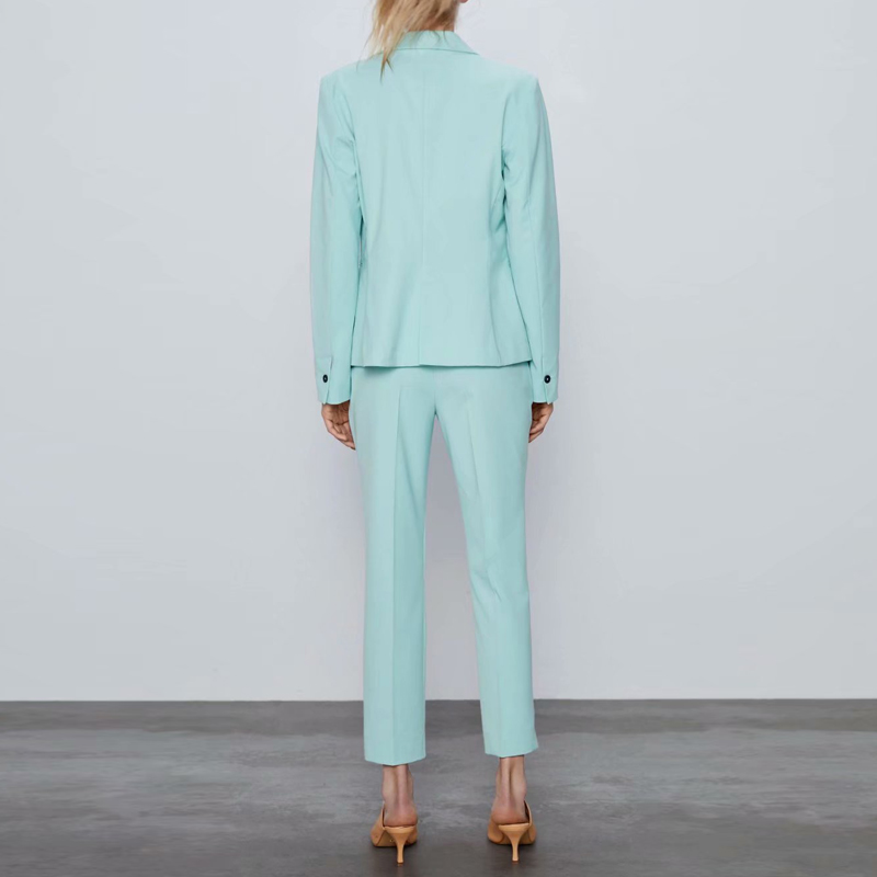 2020 Spring OL Work Pants Suit Women Single Button Office Lady Blazer Jacket &Trouser Pink Purple 2 Piece Set Female Costume