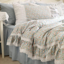 Bedspread Bedding-Set Bed-Skirt Embroidery Lace Duvet-Cover Flowers Rustic Ruffle Elegant