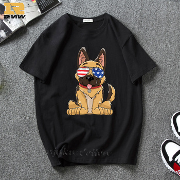 German Shepherd Wear American Sunglasses Tshirt Women and Men Clothes Fashion Dog Graphic T-Shirt Kawaii Animals Dog Printed Top