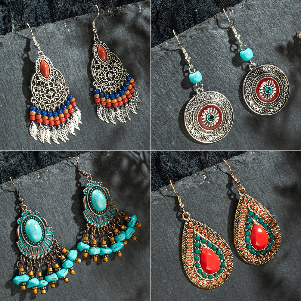 Multiple Vintage Ethnic Boho Dangle Drop Earrings Gifts for Women Female Anniversary Bridal Party Wedding Wholesale Jewelry(China)