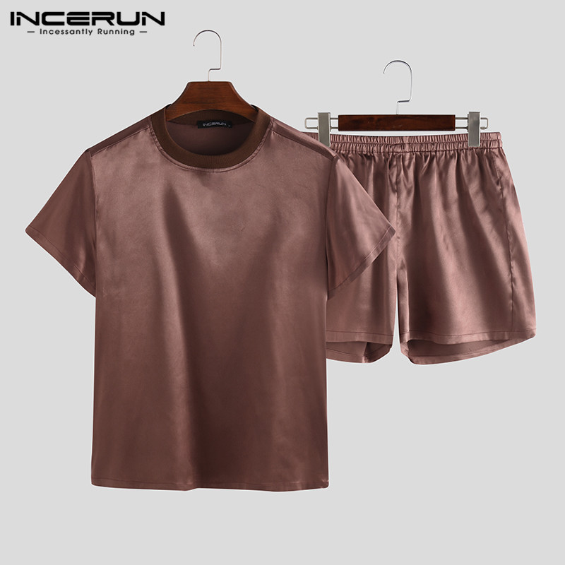 Summer Men Pajamas Sets O Neck Short Sleeve Solid Tops Shorts Homewear Casual Comfy Two-Piece Mens Sleepwear Sets S-5XL INCERUN