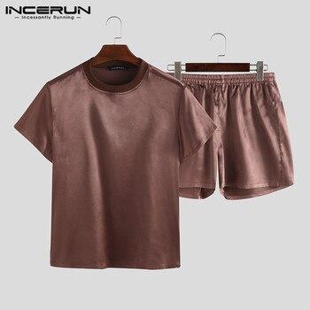 Summer Men Pajamas Sets O Neck Short Sleeve Solid Tops Shorts Homewear Casual Comfy Two-Piece Mens Sleepwear Sets S-5XL INCERUN