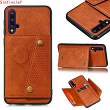 Luxo caso de silicone couro do plutônio para huawei nova 5 t 5 t capa telefone volta bolso com slot para cartão titular flip magnética carteira funda