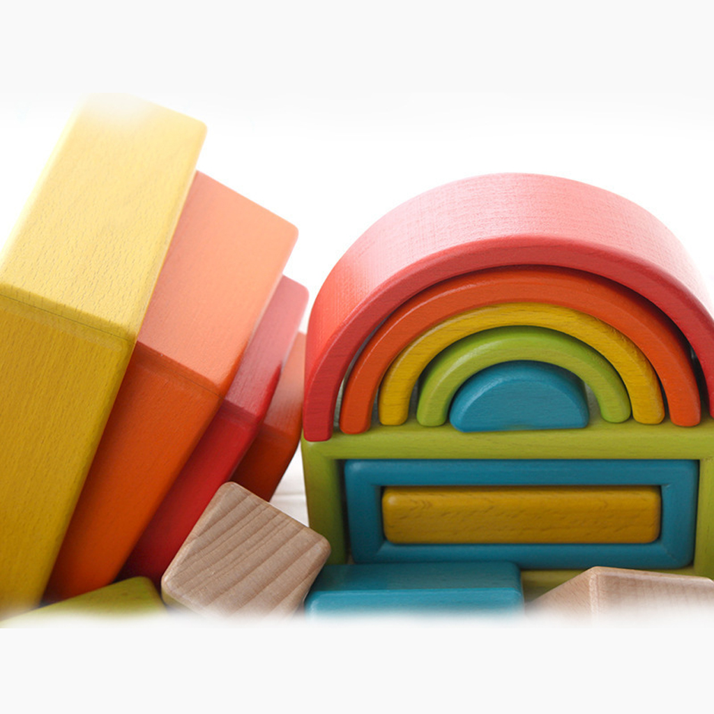 32 pièces enfants en bois arc en ciel blocs empilables jouets éducatifs Montessori - 5