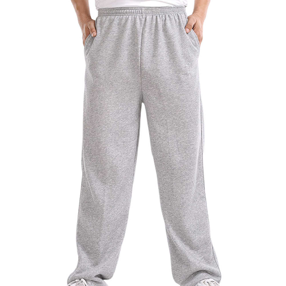 Autumn 2020 Casual Sweatpants Men Solid Color Elastic Waistband Pockets Sports Hip Hop Loose Straight high quality fitness pants