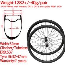 Asymmetric width 32mm 650B 27.5 carbon mtb wheels gravel disc mountain bike wheel XD tubeless 12*100 12*142 15*110 12*148