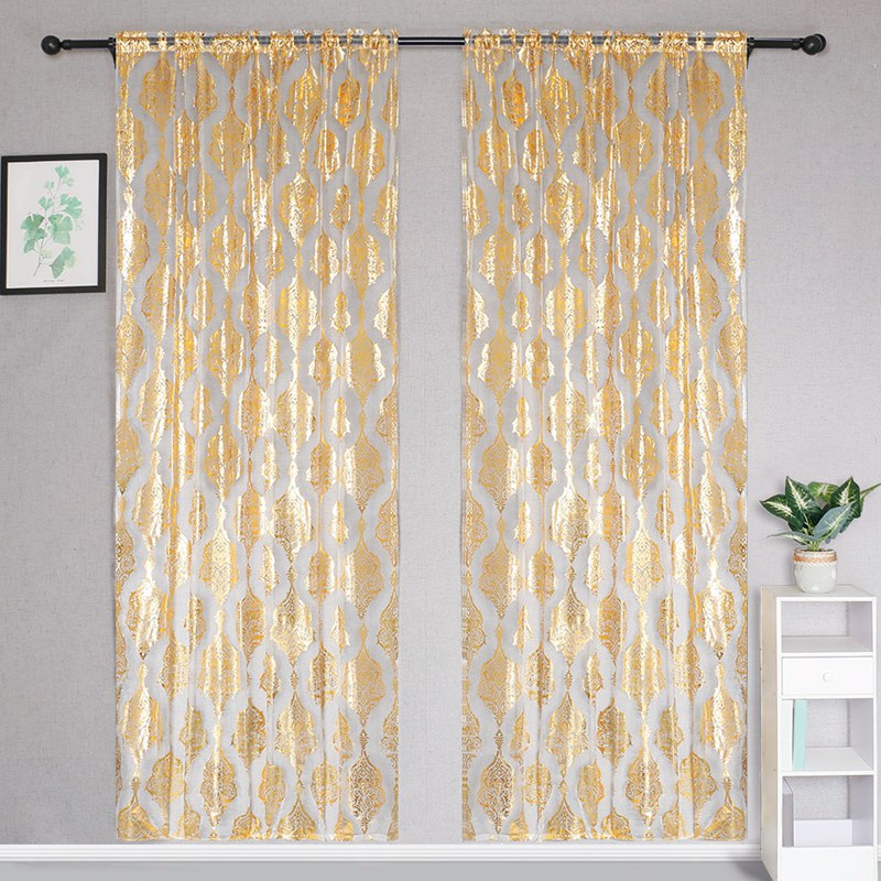 100x200cm Printed Bedroom Curtains Rod Pocket Shiny Valance Transparent Thin Curtain Window Treatment Home Decor For Living Room